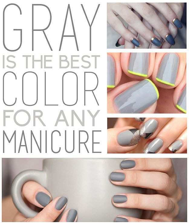 Love this idea. If you were still thinking about grey...I hope you are. Matte grey and gold tips? French mani!? Oh golly.