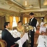 Dining for two in a private carriage, Majestic Train de Luxe