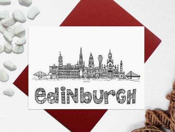 Edinburgh card  Edinburgh skyline landmark card  black white