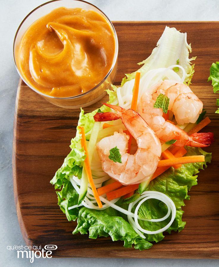 Roulé de crevettes et de laitue avec sauce éclair aux arachides #recette