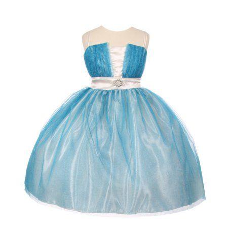 cae74decc51 Girls Turquoise White Mesh Brooch Bouffant Junior Bridesmaid Dress 8-14   bridesmaiddresses