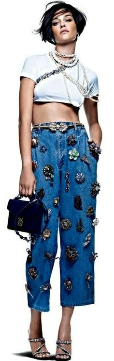 Embellished Denim Editorials : Nada Basico Vogue Brazil                                                                                                                                                                                 More