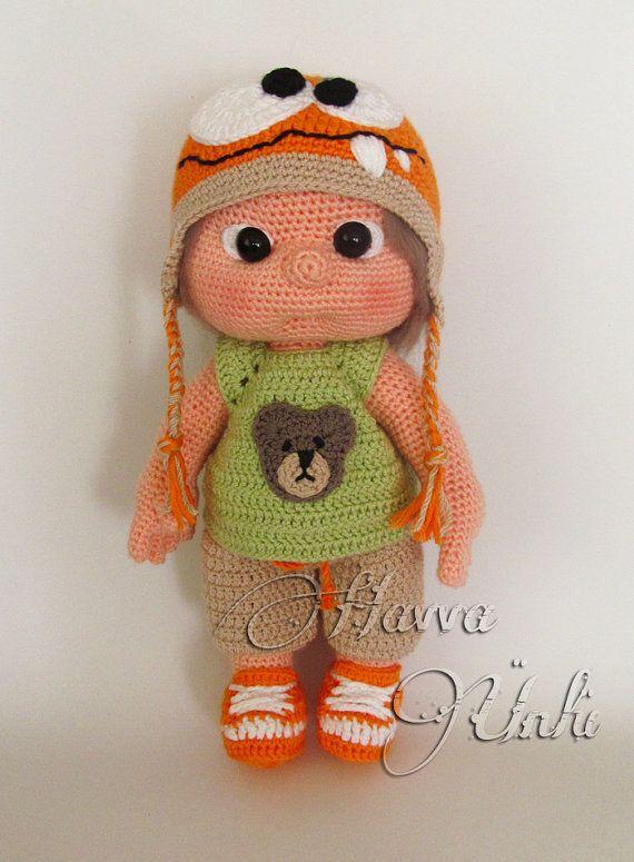 PATTERN Kid With Monster Hat crochet amigurumi by HavvaDesigns