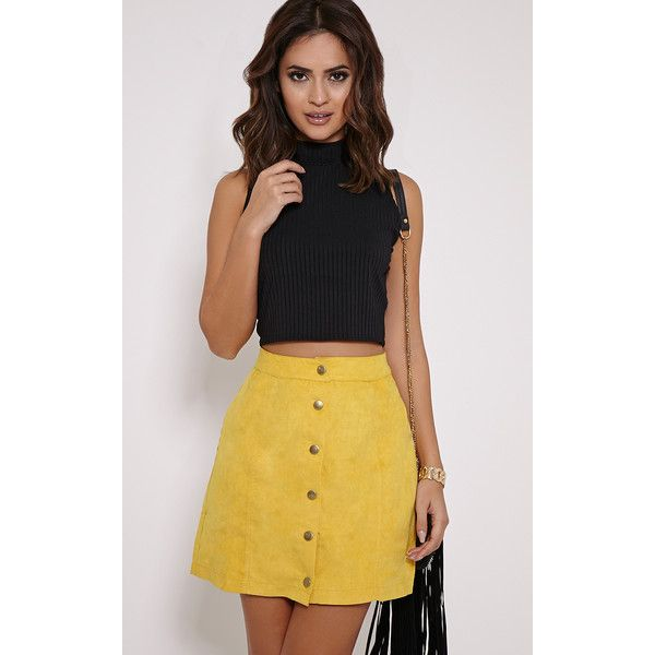 Cheryl Mustard Suede Button Front Skirt-6 ($21) ❤ liked on Polyvore featuring skirts, yellow, yellow skirt, mustard a line skirt, mustard skirt, a line skirt and mustard yellow skirt