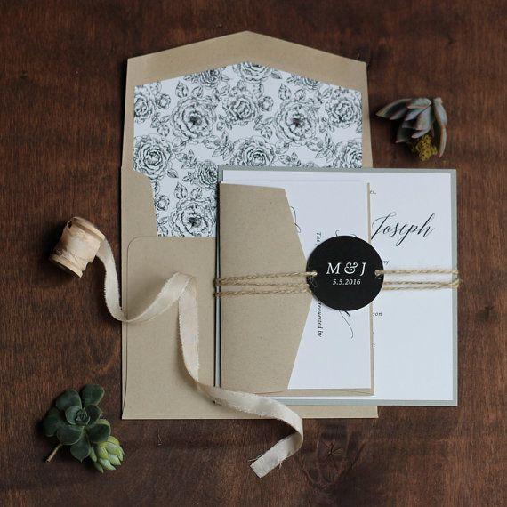 Invito moderna inviti matrimonio rustico di JenSimpsonDesign