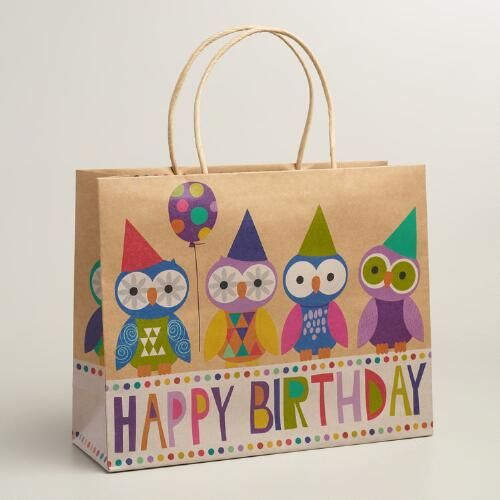 Our multicolored, on-trend birthday gift bag features everyone's favorite bird. Made of natural kraft paper, it's a fun, quirky wrapping option for large gifts.