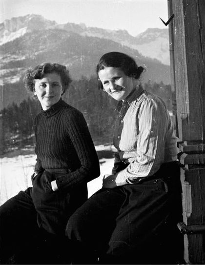 Eva Braun with Erna Hoffmann.