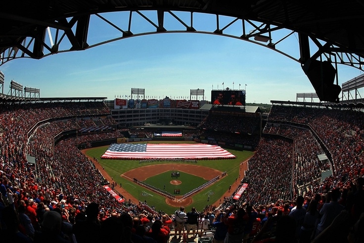 """""""the start of Passover, Good Friday and Baseball - the holiest week of the year!"""" - Ronald Martinez/Getty ImagesTexas Rangers, American Flags, Rangers Ballpark, April 06, Ball Games, National Anthem, Ronald Martinez Getty, Martinez Getty Image, Chicago White Sox"""