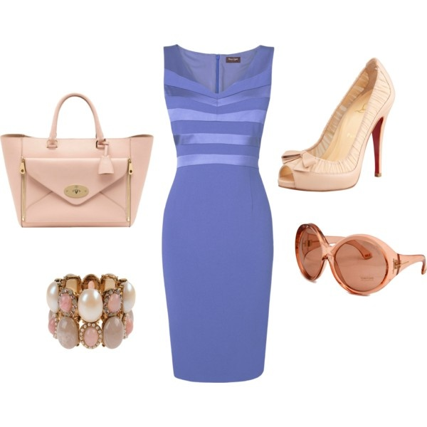 Fitted Periwinkle Dress + Nude Accessories