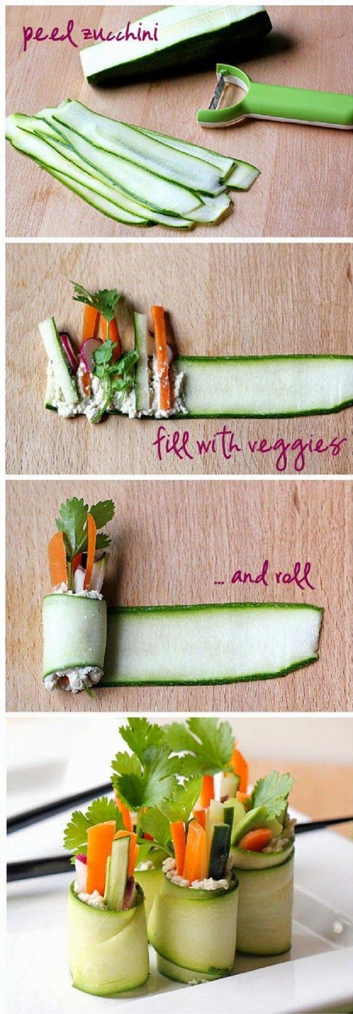 Gemüse Sushi Rollen mit Zucchini, Karotten, Gurke, Rettich, Avocado, Koriander und Cashewnuss-Paste
