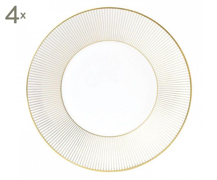 Fine Bone China-Dessertteller Jasper Conran Gold, 4 Stück