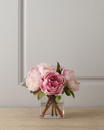 Pink Peonies in Glass Cube by Diane James at Neiman Marcus.