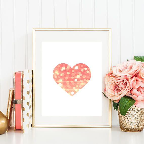 Heart Printable Art Print Baby Girl Room Decor Coral Nursery