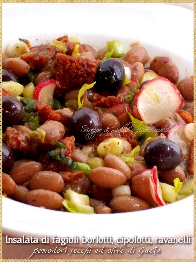 Insalata di fagioli borlotti, cipolotti, ravanelli, pomodori secchi ed olive di Gaeta (Borlotti bean salad, green onions, radishes, dried tomatoes and olives from Gaeta)