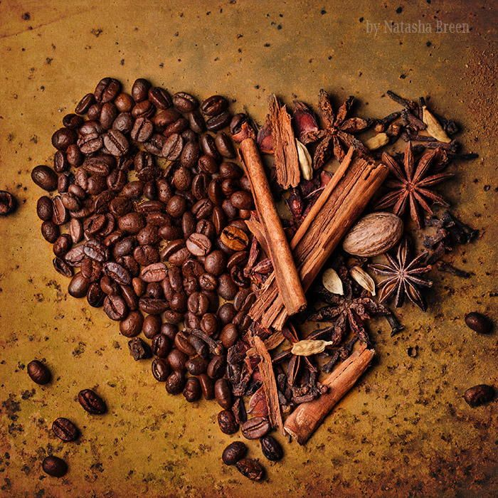 To Coffee With Love - Coffee beans and spices as heart