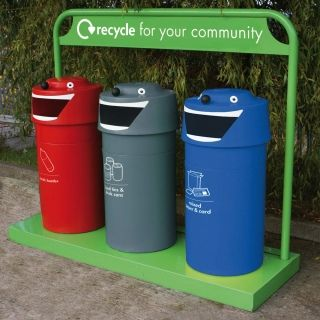 The face bin is a fun looking polythene bin that's great for schools and playgrounds. These bins can be grouped together to form a recycling station and why not add WRAP stickers to show each waste stream .