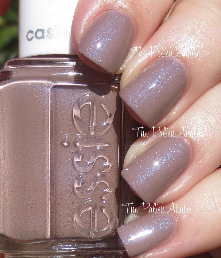 Comfy In Cashmere is a taupe-y base with blue shimmer with a shinny top coat on it -- it's matte without that