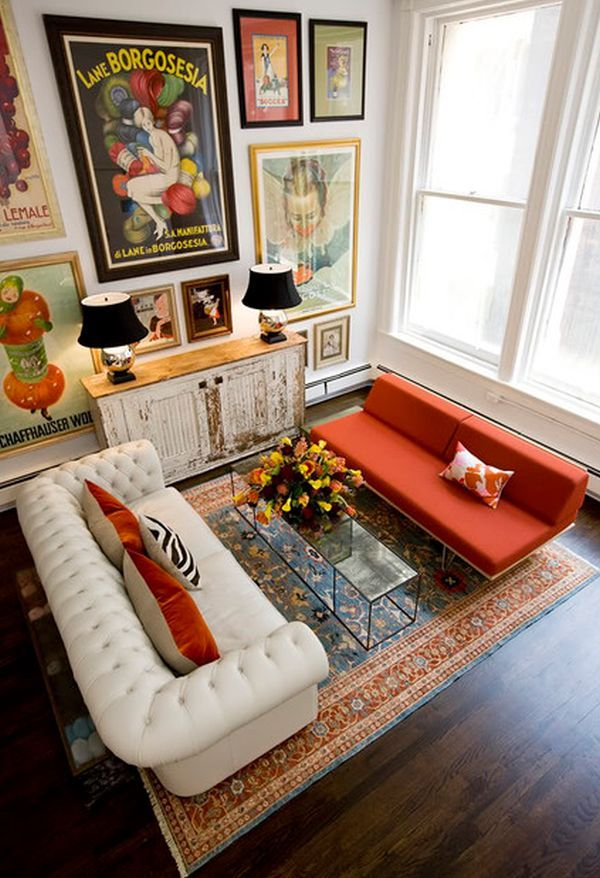 I love this eclectic living room. White, black and red but with so many patterns and textures. Maybe for the loft room: