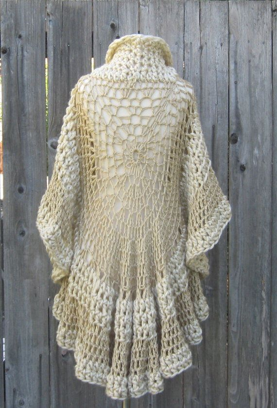BEIGE CAPE PONCHO Crochet Knit Cream Shawl Turtleneck Boho ...