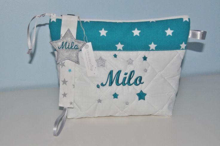 Box cadeau:Trousse de toilette+attache-tétine/sucette enfant ou bébé étoiles bleu turquoise et grises personnalisée brodée : Trousses par lbm-creation