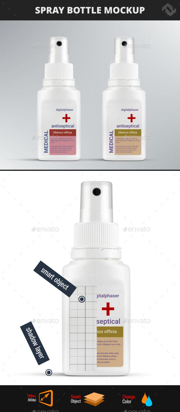 Antiseptic Spray Bottle Mockup Bottle Mockup Photography