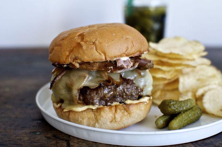 Cuban Roast Pork Cheeseburger with Mojo Onions | http://saltandwind.com