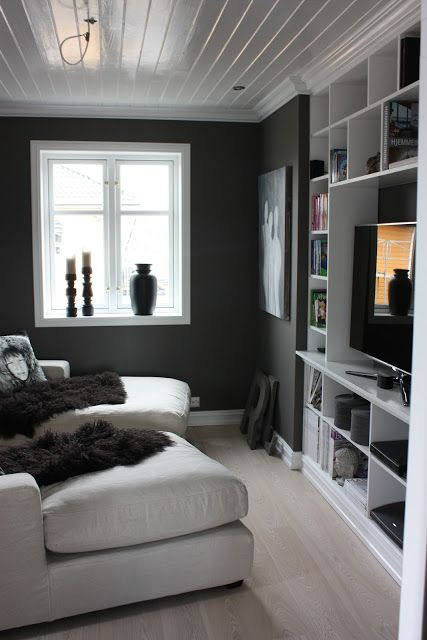 Small, soft, simple, so comfortable looking ... this living room with charcoal walls and white accents is also neatly organized with all you need in, what looks to be, a custom shelving unit inset to be flush with the wall .. which is what makes this small space work so well!