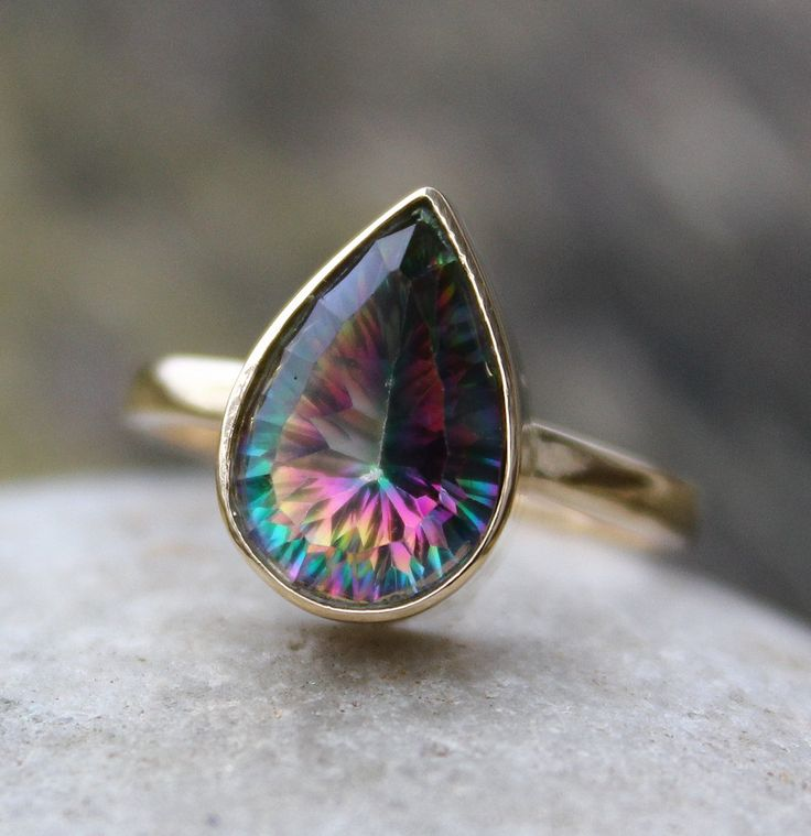 Fire Mystic Topaz Teardrop Ring - Solid 10KT Gold - Gemstone Ring.