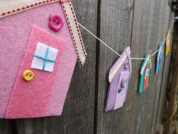 Beach Hut Garland Seaside Bunting Beach Hut Art Beach by FeltWitch, £25.00