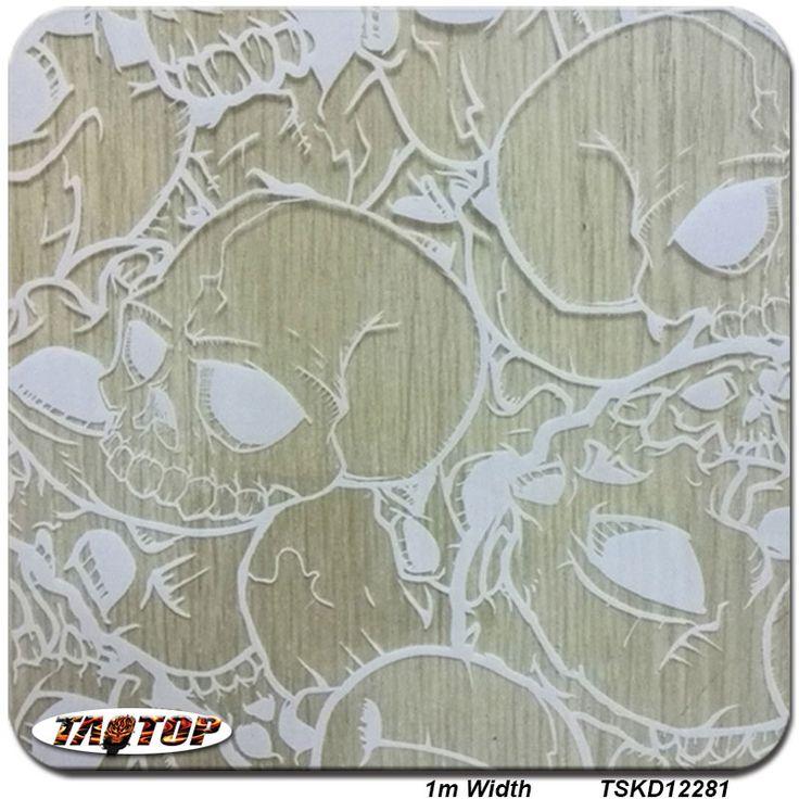 TSKD12281 white skull transparent 1M * 10M Water Transfer Printing Films Hydro Dipping Hydrographics Film