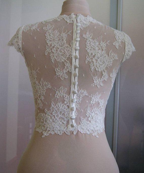 Wedding bolero-top-jacket of lace sleeve short front от TIFARY