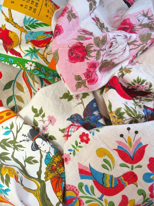 vintage linen tea towels waiting to be made into something...