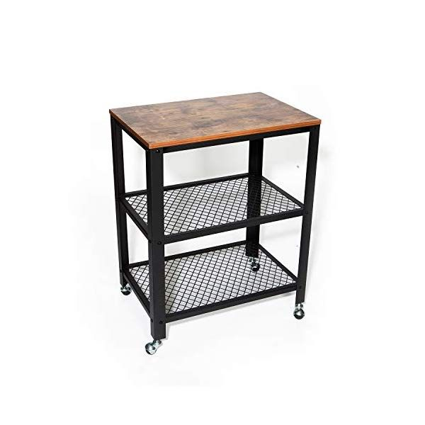Ironck Industrial Kitchen Cart 3 Tier Rolling Serving Cart On Wheels With Storage Microwave Cart For Kitchen Kitchen Cart Microwave Cart Industrial Kitchen