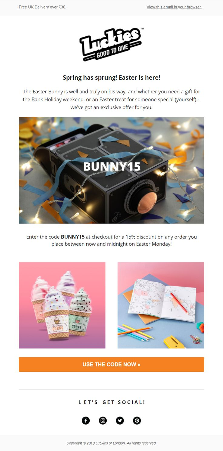 123 best easter emails images on pinterest luckies of london email with discount coupon code for easter emailmarketing email marketing negle Images
