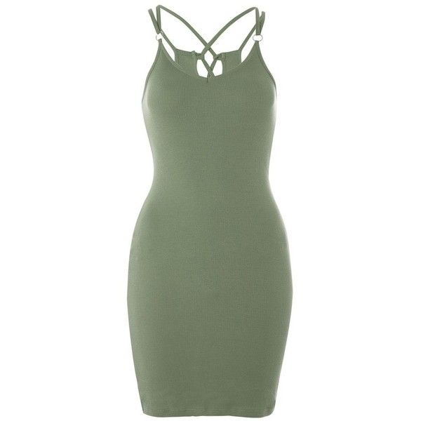 Women's Topshop Strappy Back Body-Con Dress ($32) ❤ liked on Polyvore featuring dresses, green body con dress, topshop dresses, bodycon cocktail dresses, strap bodycon dress and green bodycon dress