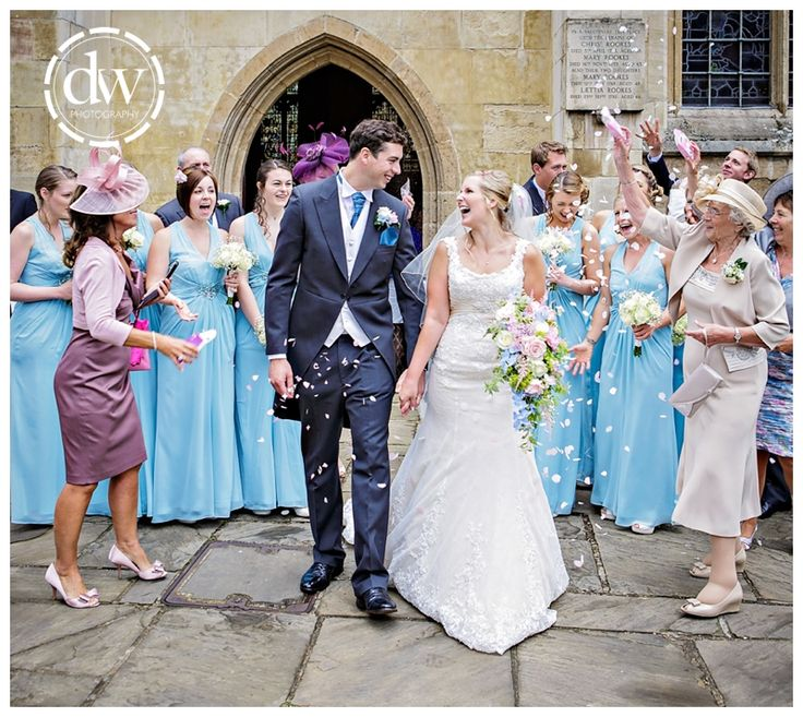 Confetti time at the end of the wedding ceremony at St Edmondsbury Cathedral, Bury St Edmunds