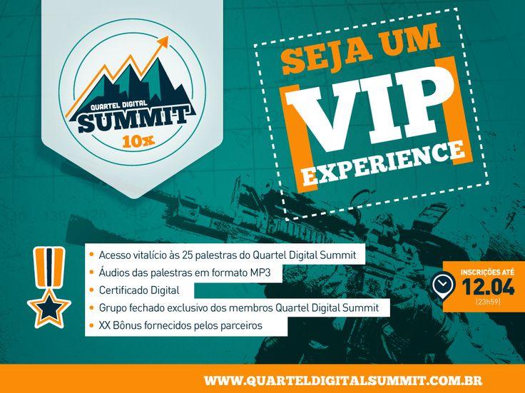 http://www.estrategiadigital.pt/queres-ser-um-vip-experience/ - ATENÇÃO: o pacote VIP Experience apenas está disponível até ao próximo sábado, dia 12, às 23h59. Se tens interesse DE VERDADE sobre Marketing Digital esta será a ÚLTIMA OPORTUNIDADE para garantires o teu acesso ilimitado e vitalício a cada uma das 25 palestras do Quartel Digital Summit e a todos os BÓNUS do pacote Quero SER um VIP EXPERIENCE.