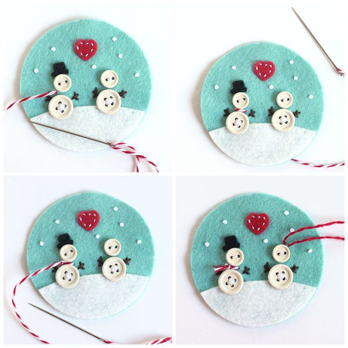 Make these adorable DIY Christmas ornaments using felt and some little wooden buttons. Free pattern and tutorial for you to use.