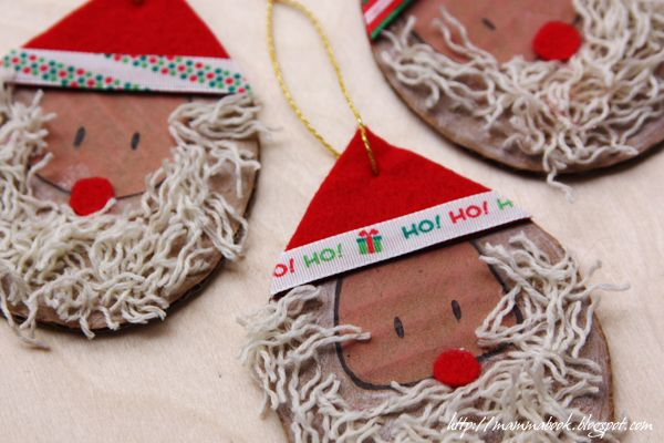 Upcycled Santa's Beard decorations (to make with 2 years old)