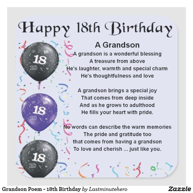Grandson Poem 18th Birthday Square Sticker