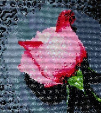 Light Pink Rose with Dew Drops. Diamond beading by-number cross ttitch Kit. Blue Moon Needlecrafts Diamond Painting DIY Kit. Size: 8.5 By 9.5 ...