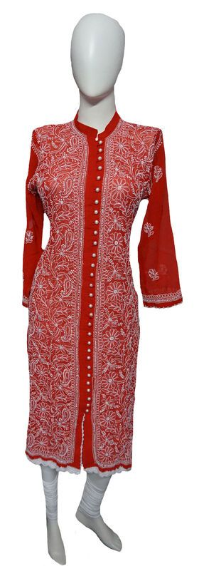 Self Design Georgette Lucknowi Chikan Kurti Lakhnavi Kurti List price: Rs3255   Rs1655 You save: Rs1600 (49%)  Specifications GENERAL DETAILS Pattern	Self Design Ideal For	Women Occasion	Casual