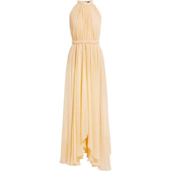 Saloni Irina Swiss-dot chiffon maxi dress ($260) ❤ liked on Polyvore featuring dresses, pastel yellow, halter neck maxi dress, yellow chiffon dress, yellow halter top, chiffon dresses and beige maxi dress