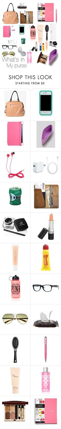 """""""What's in my purse?"""" by justbreana ❤ liked on Polyvore featuring Forever 21, Tory Burch, Marc by Marc Jacobs, Jack Wills, CO, Revlon, Lancôme, Carmex, Chapstick and Victoria's Secret PINK"""