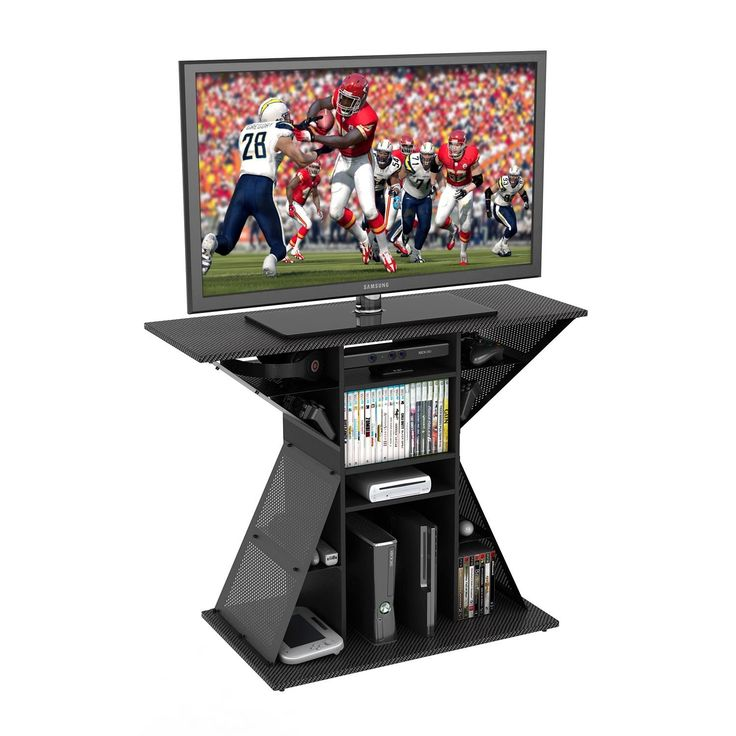Atlantic Tv Stand/Gaming Hub Fits Up To A 42 Inch TV. Fits Up To 42 Inch TV. Holds 100lbs. 12 Storage Compartments. Holds 40 Games. Holds 8 Controllers 3 Consoles and Accessories.