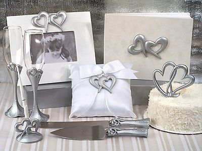 Guest Books and Pens 20940: 9-Pc Silver Two Hearts Guest Book Cake Topper Ring Pillow Wedding Accessory Set -> BUY IT NOW ONLY: $78.5 on eBay!