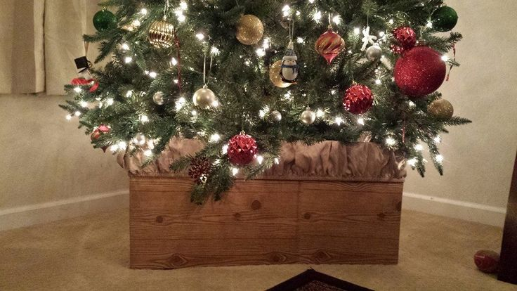 Diy fake a wooden box christmas tree stand d i y project for Wooden box tree stands
