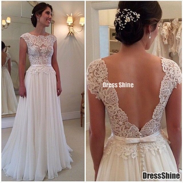 2015 Bateau A-Line Prom Dresses Fully Lace Appliques Chiffon Deep V Black Beach Wedding Dress - PROM