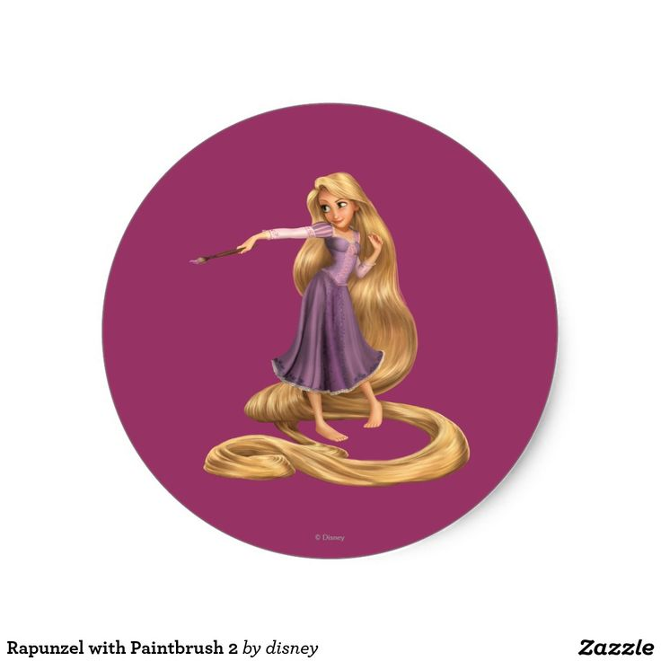 Shop rapunzel with paintbrush 2 classic round sticker created by disney