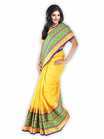 #Yellow Chanderi Saree with border work.  #Crafts #Handicraft #India #Traditional #Fashion #Ethinic #Green #Purple #Silk #Saree #Sari #Beautiful